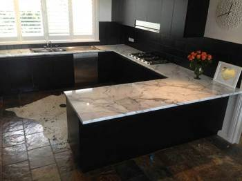 Laminate Kitchen Benchtop in Carrara Marble, Camberwell