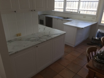 Laminate Kitchen Benchtop in Carrara Marble, Wheelers Hill