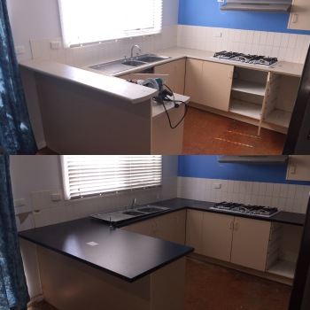 Laminate Benchtop remodel before & after